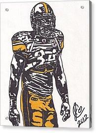 Acrylic Print featuring the drawing Rashard Mendenhall 2 by Jeremiah Colley
