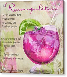 Rasmopolitan Mixed Cocktail Recipe Sign Acrylic Print by Mindy Sommers