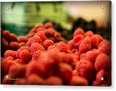 Raspberries At The Market Acrylic Print by Tom Buchanan