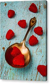 Raspberries With Antique Spoon Acrylic Print by Garry Gay