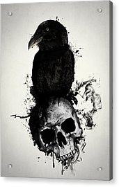 Raven And Skull Acrylic Print by Nicklas Gustafsson