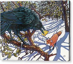 Raven And The Fox Acrylic Print by Nadi Spencer