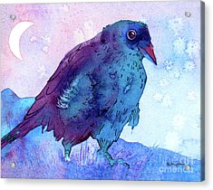 Acrylic Print featuring the painting Raven At Dusk by Jo Lynch