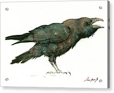 Raven Bird Acrylic Print by Juan Bosco