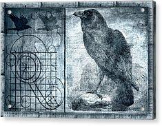 Raven Etching Photomontage Acrylic Print