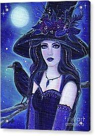 Raven Halloween Witch Acrylic Print
