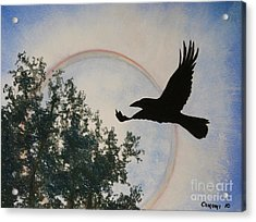 Raven Holds The Sun Acrylic Print by Stanza Widen