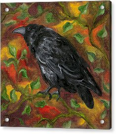 Raven In Autumn Acrylic Print
