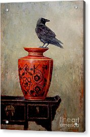 Raven On Red  Acrylic Print by Lori  McNee