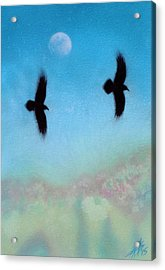 Raven Pair With Diurnal Moon Acrylic Print by Robin Street-Morris