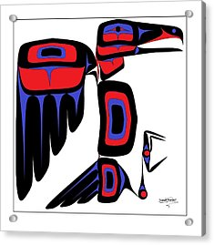 Raven Red And Blue Acrylic Print by Speakthunder Berry