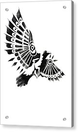Raven Shaman Tribal Black And White Design Acrylic Print by Sassan Filsoof