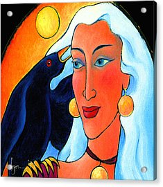 Raven Speaks Acrylic Print by Angela Treat Lyon