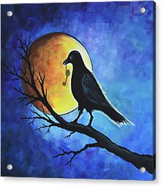Raven With Key Acrylic Print by Agata Lindquist