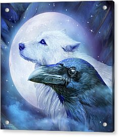 Acrylic Print featuring the mixed media Raven Wolf Moon by Carol Cavalaris
