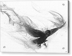 Acrylic Print featuring the digital art Raven's Flight by Steve Goad