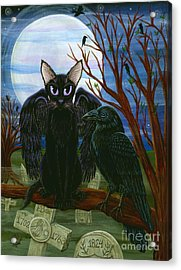 Raven's Moon Black Cat Crow Acrylic Print