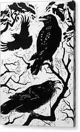 Ravens Acrylic Print by Nat Morley