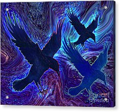 Acrylic Print featuring the painting Ravens On Blue by Teresa Ascone