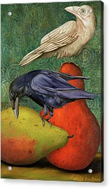 Acrylic Print featuring the painting Ravens On Pears by Leah Saulnier The Painting Maniac