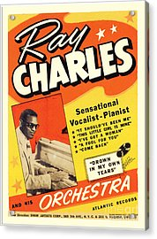 Ray Charles Rock N Roll Concert Poster 1950s Acrylic Print