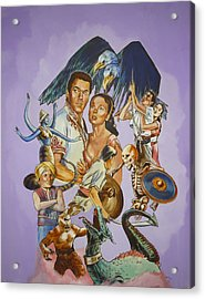 Acrylic Print featuring the painting Ray Harryhausen Tribute Seventh Voyage Of Sinbad by Bryan Bustard