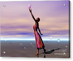 Reaching For A Cure Acrylic Print by Sandra Bauser Digital Art
