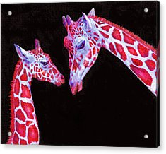 Read And Black Giraffes Acrylic Print by Jane Schnetlage
