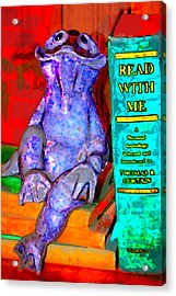 Read With Me Frog Acrylic Print by Danielle Stephenson