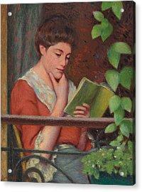 Reading Al Fresco Acrylic Print by Federigo Zandomeneghi