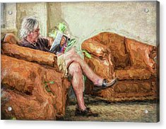 Acrylic Print featuring the photograph Reading At The Library by Lewis Mann