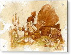 Reading Acrylic Print by Brian Kesinger