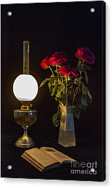 Acrylic Print featuring the photograph Reading By Oil Lamp by Brian Roscorla