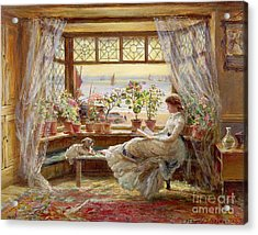 Reading By The Window Acrylic Print by Charles James Lewis