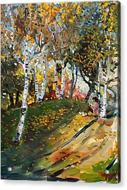 Reading In The Park  Acrylic Print
