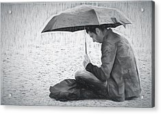 Reading In The Rain - Umbrella Acrylic Print by Nikolyn McDonald