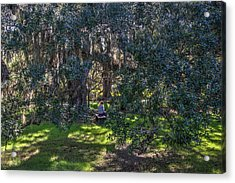 Reading In The Shade Of Live Oaks Acrylic Print