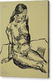 Reading Naked Woman Acrylic Print by Vitali Komarov