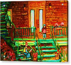 Reading On The Steps Acrylic Print