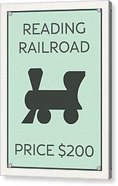 Reading Railroad Vintage Monopoly Board Game Theme Card Acrylic Print