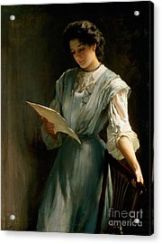 Reading The Letter  Acrylic Print by Thomas Benjamin Kennington