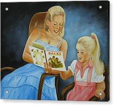 Reading With Gramma Acrylic Print by Joni McPherson