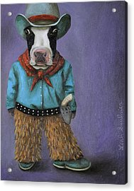 Acrylic Print featuring the painting Real Cowboy by Leah Saulnier The Painting Maniac