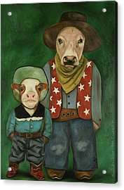 Acrylic Print featuring the painting Real Cowboys 3 by Leah Saulnier The Painting Maniac