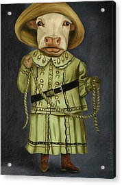 Acrylic Print featuring the painting Real Cowgirl 2 by Leah Saulnier The Painting Maniac