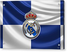 Real Madrid C F - 3 D Badge Over Flag Acrylic Print