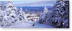 Rear View Of A Person Skiing, Stratton Acrylic Print by Panoramic Images