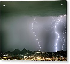 Reata Pass City Lights Lightning Strikes Acrylic Print