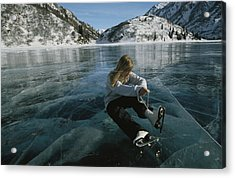 Rebecca Quinton Laces Up Her Ice Skates Acrylic Print by Michael S. Quinton