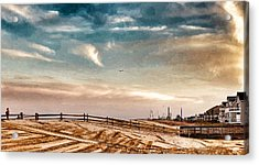 Rebuilding The Ortley Dunes  Acrylic Print by Vincent DeLucia
